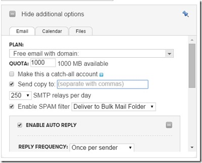 6. set up additonal options like auto reply etc